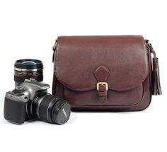 Leather Canon Nikon DSLR SLR Camera Shoulder Messenger Tassel Bag Padded Insert