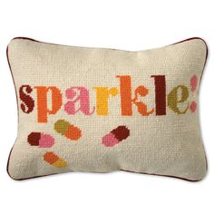 "I'm really not sure why this needlepoint pillow has pills and the word ""sparkle"" on it, but clearly it was designed for me. Except, I'd like a better color scheme. Jonathan Adler Sparkle Needlepoint Pillow in Needlepoint Pillows Modern Throw Pillows, Accent Pillows, Décor Pillows, Cushions, Biscuit Home, House Of Turquoise, Valley Of The Dolls, Needlepoint Pillows, Jonathan Adler"