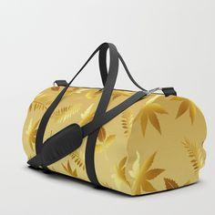 Gold leaves Duffle Bag by laureenr Duffle Bags, Leaf Design, Gold Leaf, Backpacks, Elegant, Stuff To Buy, Classy, Gym Bag, Duffel Bag