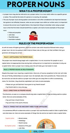 Proper Noun: Definition, Rules and Examples of Proper Nouns Noun Chart, Grammar Chart, English Grammar Worksheets, English Vocabulary, English Beginner, English Vinglish, English For Beginners, English Language, English Writing Skills