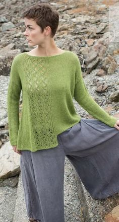 Iwi is a relaxed fit oversized pullover knitting pattern. It uses light and lofty Berroco Folio yarn and features an asymmetric hem and lace panel. Summer Knitting, Free Knitting, Sweater Knitting Patterns, Knit Patterns, Pulls, Knitting Projects, Cable Knit, Knitwear, Knit Crochet