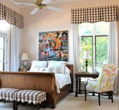 Brown and white gingham valances in a contemporary bedroom
