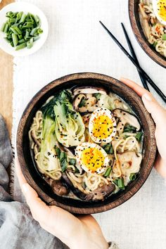 Ramen Bowl with Shiitake Mushrooms and Bok Choy