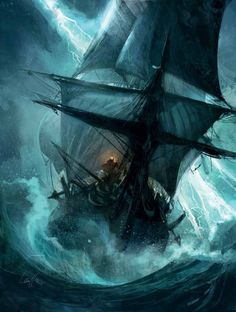 """Painting by Mathieu Lauffray for his own comic """"Long John Silver"""""""