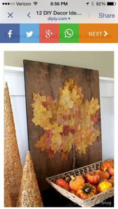 """Sign a leaf."" Use this as the wedding guest book. Make it into a home decor object after the wedding"