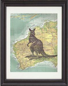 Kangaroo Illustration Art Print On Vintage by TexasGirlDesigns, $15.00