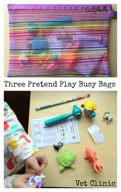 Three Pretend Play Busy Bag Ideas from Lalymom - How cute! Three Pretend Play Busy Bag Ideas from Lalymom - How cute! Quiet Time Activities, Kids Learning Activities, Preschool Activities, Indoor Activities, Summer Activities, Family Activities, Preschool Teachers, Learning Resources, Kindergarten