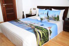 Modro biely prehoz s motívom mesta - domtextilu. Bed, Furniture, Home Decor, Homemade Home Decor, Stream Bed, Home Furnishings, Beds, Decoration Home, Arredamento