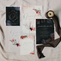 For sale! We're thrilled to announce our first semi-custom invitation suite, available now on our website! #calligraphy #invitations #moderncalligraphy #watercolor #handmade #madebyhand #handwriting #floral #stationary #weddingstationery #weddinginvitations