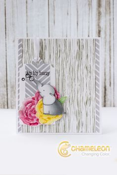 Ekaterina hip hip hooray card Chameleon Changing Color, Chameleon Color, Scrapbook Cards, Scrapbooking Ideas, Craft Projects, Projects To Try, Spectrum Noir Markers, Cute Cards, Greeting Cards Handmade