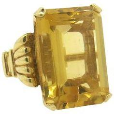 Large Retro Citrine Gold Cocktail Ring