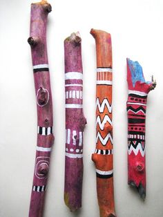 I have different small art projects of my own under way all the time and right now I& experimenting with wood. These are my painte. Painted Driftwood, Driftwood Art, Spirit Sticks, Stick Art, Painted Sticks, Wood Sticks, Sticks And Stones, Art Lessons Elementary, Camping Crafts