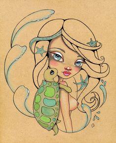 Honupo'okea Hawaii Surf SeaTurtle Original Art Giclee fine art print 8x10 by LeaBarozzi on Etsy