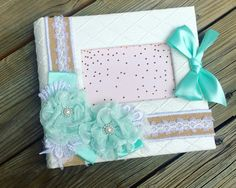 Wedding Album Handmade White Aqua Photo by ShabbyChicJCouture