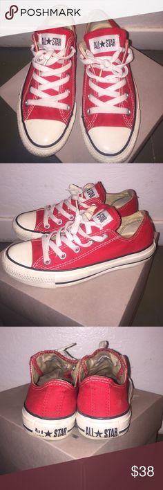 Red converse(willing to negotiate) Red and white chuck Taylor's. Previously worn . The sign at the back is slightly off as shown in the picture . The laces are still white . The front of the shoes are still white. Size 6 in women. I am willing to negotiate the price . Converse Shoes Sneakers