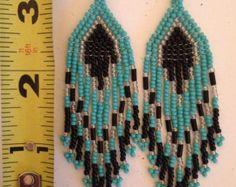 Seed Bead Earrings Modern Native American by pattimacs on Etsy