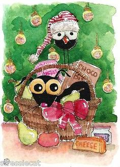 ACEO Original Watercolor Folk Art Christmas Fruit Basket Black Cat Crow Lights | eBay