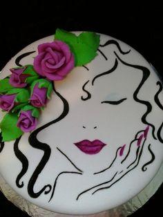 Dort marcipánový * k narozeninám - zdobený malovaným obličejem dívky a kyticí růží ♥