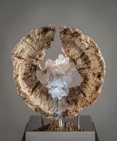 The Matrix - Organic Quartz and Acacia Wood Sculpture with a Stainless Steel Base and Lights by Fine Artist Dorit Schwartz – Las Vegas
