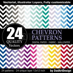 set of 24 chevron vector patterns