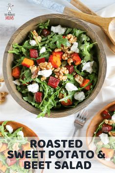 Roasted Sweet Potato and Beet Salad - The Produce Moms Beet Recipes, Healthy Salad Recipes, Easy Recipes, Walnut Recipes, Skinny Recipes, Lunch Recipes, Smoothie Recipes, Vegetarian Recipes, Dinner Recipes