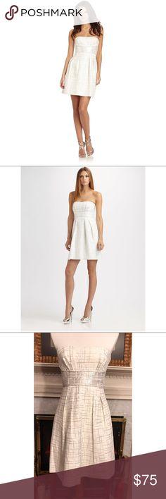 BCBG empire waist strapless dress Sz. 6 BEAUTY BCBG empire waist strapless dress Sz. 6 BEAUTY. Cream w/Silver accents banded waistline with tucks for curve flair. Weddings, GNO, Date night... yes to all!  #shopmycloset #girlmeetsthrift #bcbg #fashion #poshboss BCBGMaxAzria Dresses