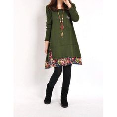 Women Autumn Winter Floral Pieced Loose Casual Pullover WarmSkirt Dress Clothing LY7
