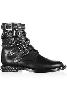Saint Laurent|Signature Rangers studded leather boots|NET-A-PORTER.COM