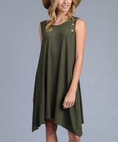 Olive Rib-Knit Eyelet-Trim Shift Dress