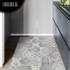 """Vinilo adhesivo decorativo especial para suelos, imitación de baldosas/losas antiguas un mosaico elegante, ideal para suelos de cocina, baño, escaleras, dormitorios, oficinas... se pueden lavar, no resbalan... un """"Do it your self"""" """"Hazlo tú mismo"""" perfecto para dar un toque nuevo a tu casa. #viniloparasuelos #lokolokodecora #azulejosenescalera #alfombradevinilo"""