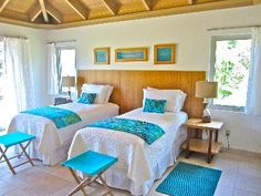 The second floor Bedroom with two twin-sized beds easily convertible to one king