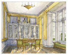 Jason Grimes, Louis XVI Study, watercolor on cotton Interior Design Sketches, Interior Rendering, Room Interior Design, Luxury Interior, Vintage Architecture, Chatsworth House, Fantasy Places, Art Thou, Interior Painting