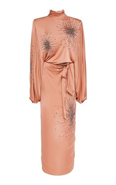 Embroidered Jersey Mock-Neck Dress by ATTICO for Preorder on Moda Operandi Eid Dresses, Evening Dresses, Casual Dresses, Draped Dress, Dress Up, Fashion 2020, High Fashion, Orange Dress, Fashion Branding