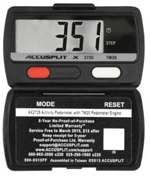 The AE120XL is a simple Activity Step pedometer with Extra Large display digits. Built exclusively for ACCUSPLIT using the same JW200 PedometerEngine step sensor (also known as the Digi-Walker engine) used on the rest of the AE100XL series. Excellent accuracy Counts Steps walked or jogged up to 100|000 Steps (0 to 99|999 & rollover). Closed case protection of display and reset button 5-Year No Proof of Purchase Warranty Leash slot incorporated into case Includes FREE 3-Way Pedometer Leash