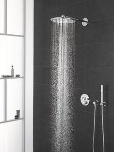 Thermostatic Shower with Fixed Shower Head Grohe Master Bathroom Layout, Modern Bathroom Sink, Bathroom Spa, Modern Bathroom Design, Bathroom Interior Design, Contemporary Bathrooms, Bathroom Vanities, Grohe Shower Head, Shower Heads