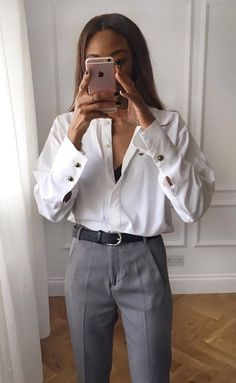 fd9f7783 Corporate Attire Women · perfect office look : white shirt and grey pants  Business Outfits, Business Attire, Wardrobe