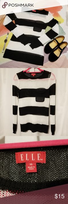 XS Elle striped knit sweater Lightweight XS knit sweater, in good condition. Perfect for layering. Elle Sweaters