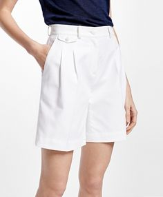 Perfect Cotton Dobby Shorts in White