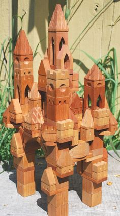 133 piece Castle Building Blocks. Castle building blocks handmade by Peter Dziulak 'Blocksmith'.