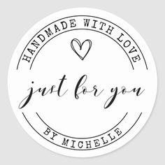 Hecho a mano con amor ⎢ Pegatina personalizado | Zazzle.com Logo Sticker, Sticker Design, Personalized Stickers, Custom Stickers, Dessert Logo, Packaging Stickers, Packaging Ideas, Label Stickers, Craft Packaging