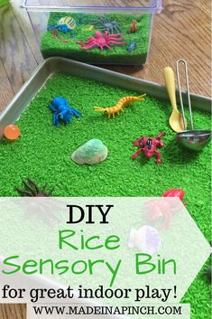 Sensory play is a great activity to help kids with their sensory development. Check out this DIY sensory bin for easy sensory play at home with your own rice bin! Toddler Sensory Bins, Sensory Activities Toddlers, Kids Learning Activities, Play Activity, Toddler Play, Indoor Activities, Sensory Play Recipes, Sensory Bottles, Indoor Play