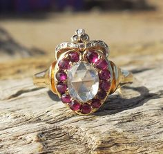 Vintage Antique Rose Cut Diamond Ruby Unique Engagement Ring Victorian Crowned Heart 18k Yellow Gold by DiamondAddiction on Etsy