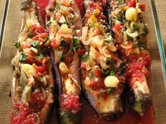 "turkish stuffed aubergine / eggplant recipe, olive oiled dish to be eaten chilled. ""Imam Bayildi"""