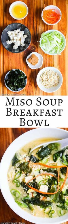 Miso Soup with Tofu, Wakame Seaweed, Rice and Egg - this is a Japanese inspired breakfast bowl that's healthy, hearty and comforting. It's packed with minerals, nutrients and protein. A great way to start the day off! ~ http://jeanetteshealthyliving.com