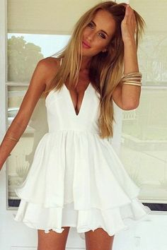 New Ladies Chiffon Vestidos Women Summer Casual Beach Dress Girls Sexy Spaghetti Strap White Elegant Dresses Modest Homecoming Dresses, Dresses Short, Sexy Dresses, Cute Dresses, Summer Dresses, Prom Gowns, Bandage Dresses, Gowns 2017, Outfit Summer