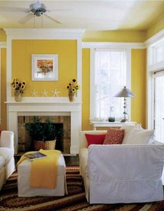 Lovely mustard yellow walls with a great pop of white. Beautiful for the kitchen/dining room