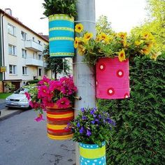 recycled can flower pots, Love this idea