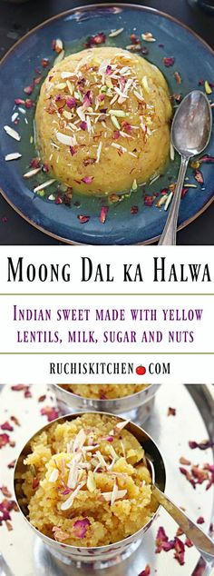 Delicious and drool worthy Moong Dal ka Halwa is a must-have winter delight! A popular Indian sweet made with yellow lentils, milk, sugar and nuts. Indian Desserts, Indian Sweets, Indian Dishes, Indian Food Recipes, Vegetarian Recipes, Cooking Recipes, Winter Desserts, Indian Cookbook, Tandoori Masala