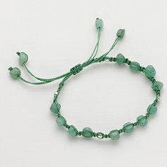 £10.00 'Romancing The Stone' green bracelet.  Green thread with aventurine nuggets and sterling silver beads friendship bracelet.