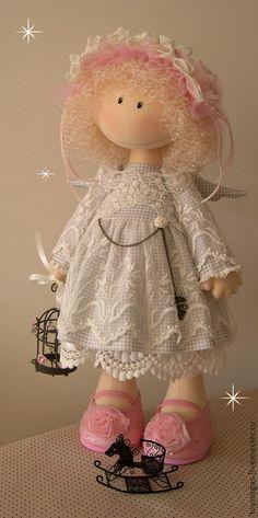 Коллекционные куклы ручной работы. Ярмарка Мастеров - ручная работа Кукла текстильная Kristy. Handmade. Pretty Dolls, Cute Dolls, Beautiful Dolls, Doll Crafts, Diy Doll, Sewing Crafts, Doll Toys, Baby Dolls, Stuffed Animals